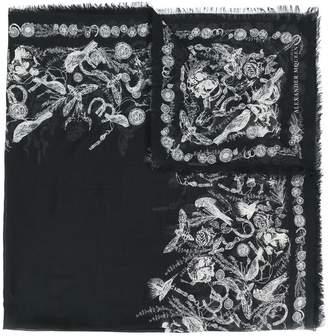 Alexander McQueen Baroque skull motif border scarf