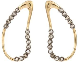 Hyères Lor 'White Moon' diamond 14k gold wavy hoop earrings