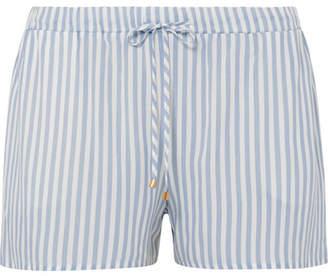 Hanro Sleep & Lounge Striped Voile Pajama Shorts - Sky blue