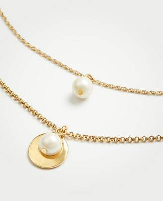 Ann Taylor Pearlized Double Layer Necklace