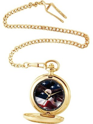 EWatchFactory Men's Flag and Eagle Pocket Watch, Gold