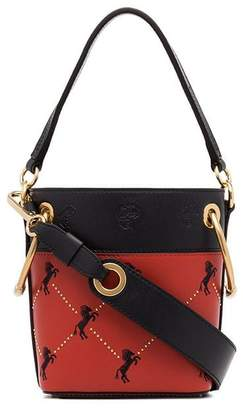 Chloé red and black roy horse embroidered leather bucket bag