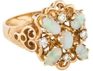 Ring 14K Opal & Diamond Filigree Cocktail