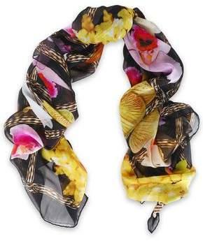Roberto Cavalli Floral-Print Silk-Chiffon Scarf