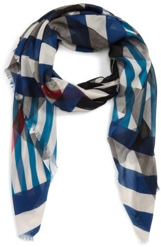 Women's Burberry Stripe & Check Scarf