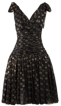 Dolce & Gabbana Ruched Polka Dot Fil Coupe Dress - Womens - Black Gold