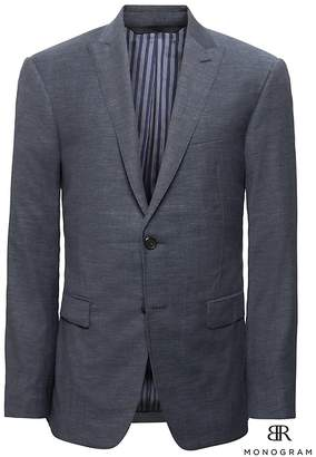 Banana Republic Monogram Slim Navy Wool-Cotton Suit Jacket