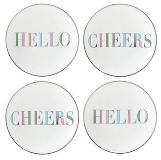 Hello & Cheers Tidbit Plates, Set of 4
