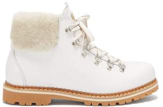 Montelliana Margherita Shearling Trimmed Leather Boots - Womens - White