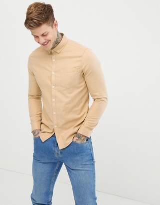 Asos Design DESIGN regular fit flannel shirt in camel