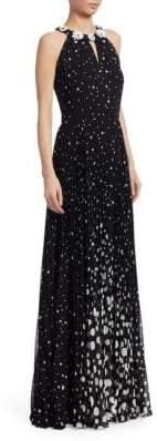 Teri Jon by Rickie Freeman Embellished Polka Dot Gown