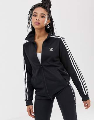 adidas Three Stripe Track Jacket In Black