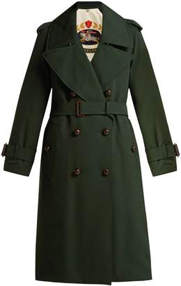 Burberry Regina logo-jacquard wool trench coat