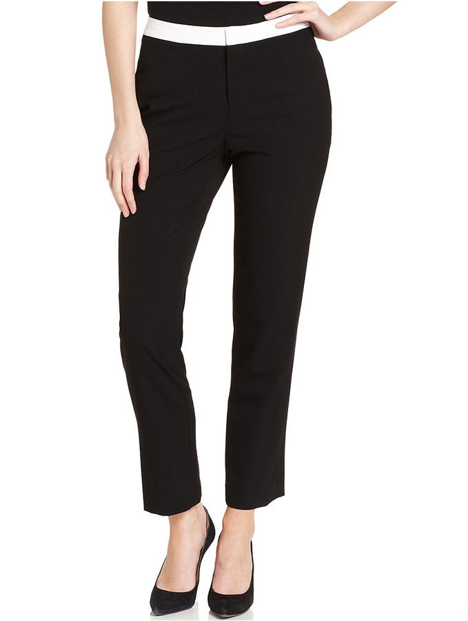 Calvin Klein Pants, Skinny Colorblocked-Waist