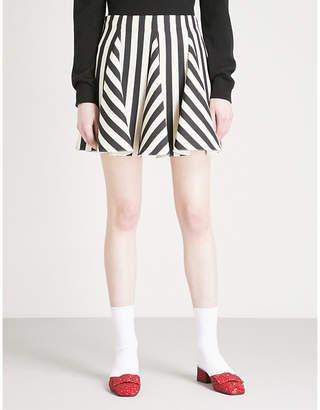 Valentino Striped wool and silk-blend mini skirt