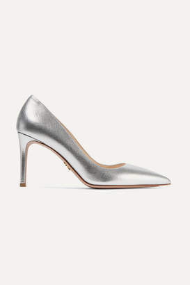 Prada - Metallic Textured-leather Pumps - Silver