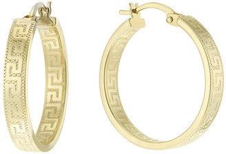 At H Samuel 9ct Gold Greek Key Design Creole Earrings