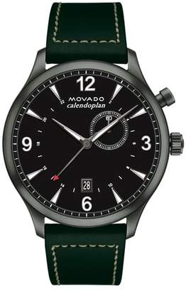 Movado Heritage Calendoplan Leather Strap Watch, 43mm