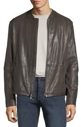 John Varvatos Men's Irregular Triple-Needle Stitch Leather Racer Jacket