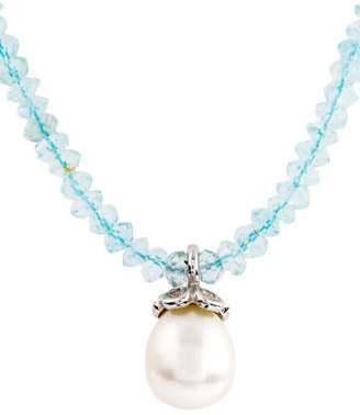 14K Aquamarine, Pearl & Diamond Pendant Necklace