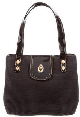Eric Javits Patent Leather-Trim Straw Bag