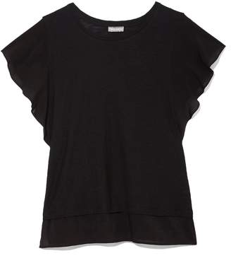 Vince Camuto Mixed-material Flutter-sleeve T-shirt