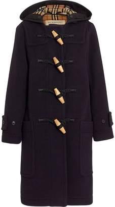 Burberry Vintage Check Detail Wool Blend Duffle Coat