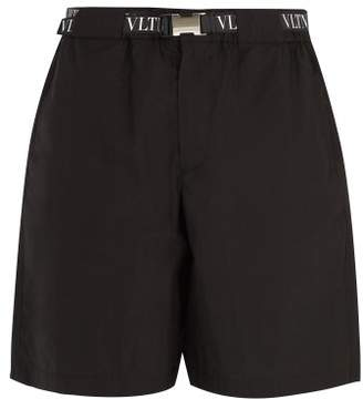 Valentino - Logo Print Belted Cotton Blend Shorts - Mens - Black