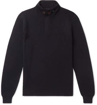 Ermenegildo Zegna Suede-Trimmed Waffle-Knit Wool Sweater - Men - Navy