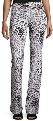 Norma Kamali Jersey High-Waist Boot Pants, Gray Leopard $120 thestylecure.com