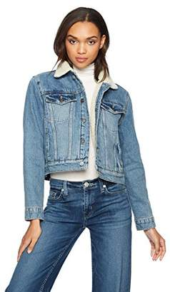 Hudson Jeans Women's Georgia Denim Jacket with Sherpa Lining
