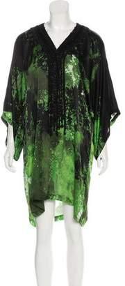 42cdec6119 Oscar de la Renta Silk Printed Cover-Up Dress