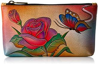 Anuschka Anna by Hand Painted Leather | Medium Organizer Pouch | Cosmetic Case | Rose Butterfly