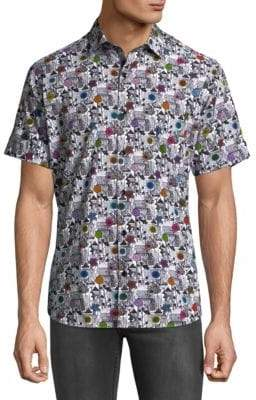 Jared Lang Floral Short Sleeve Button Down Shirt