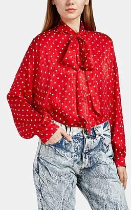 Balenciaga Women's Polka Dot Logo-Jacquard Silk Tieneck Blouse - Red