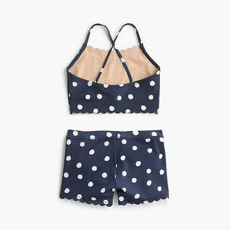 J.Crew Girls' cropped tankini and shorts set in polka dots
