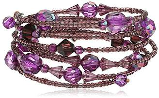 Coppertone 1928 Jewelry Burnished Copper-Tone Purple AB Beaded Coil Bracelet