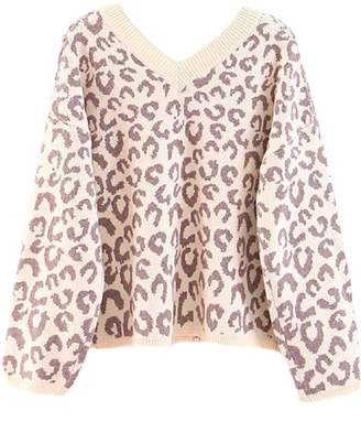 Goodnight Macaroon 'Louisa' V-Neck Leopard Print Sweater (3 Colors)