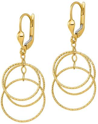 Italian Gold 14K Gold Textured Circle Dangle Lever-Back Earrings