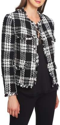 1 STATE 1.STATE Raw Edge Plaid Tweed Jacket