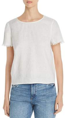 Vince Camuto Frayed-Sleeve Linen Tee - 100% Exclusive