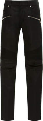 Balmain Skinny-Fit Zip-Detailed Distressed Stretch-Denim Jeans