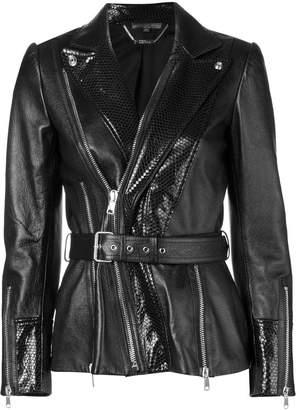 Alexander McQueen belted waist leather jacket
