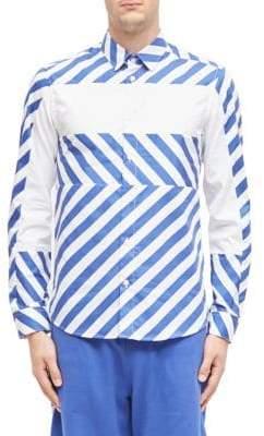 Kenzo Diagonal Stripes Cotton Button-Down Shirt