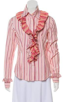 Etro Striped Ruffle Button-Up