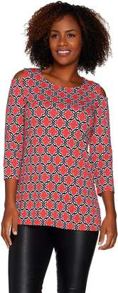 Susan Graver Weekend Printed Cotton Modal Cold Shoulder Tunic