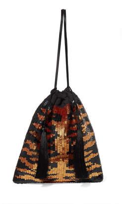 ATTICO Tasseled Sequined Chiffon Clutch - Leopard print