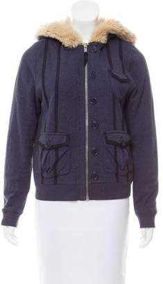 Marc by Marc Jacobs Faux Fur-Trimmed Hooded Cardigan