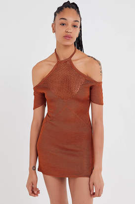 Urban Outfitters Metallic Cold Shoulder Bodycon Sweater Dress
