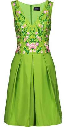 Marchesa Pleated Embroidered Faille Dress